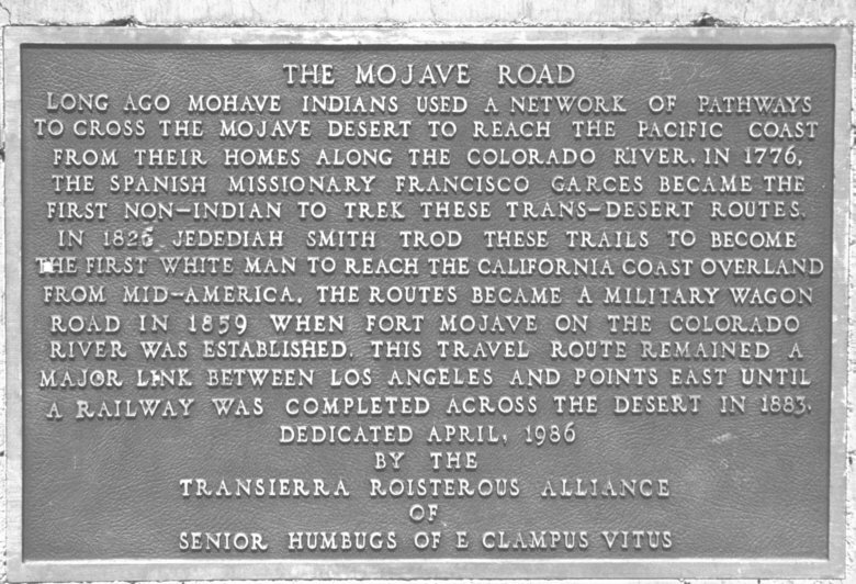 Plaque dedicated to the Mojave Road