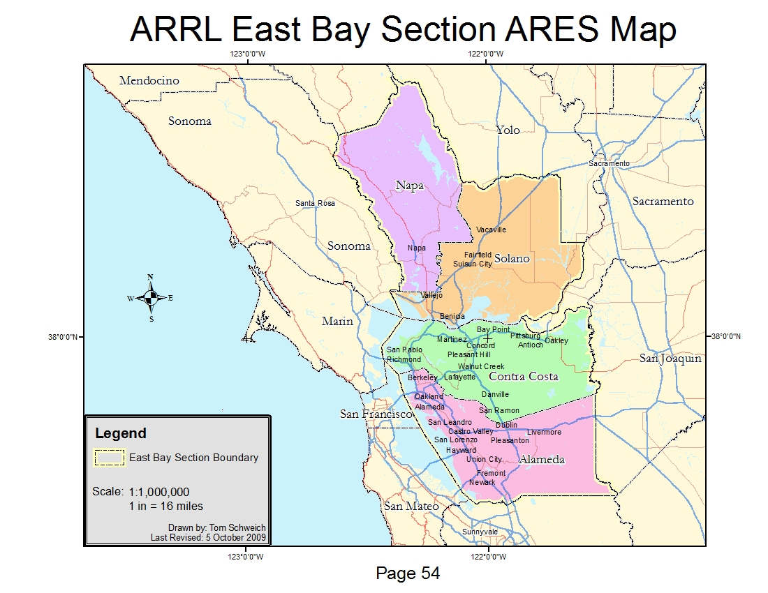 Photo Arrl East Bay Section Ares Map