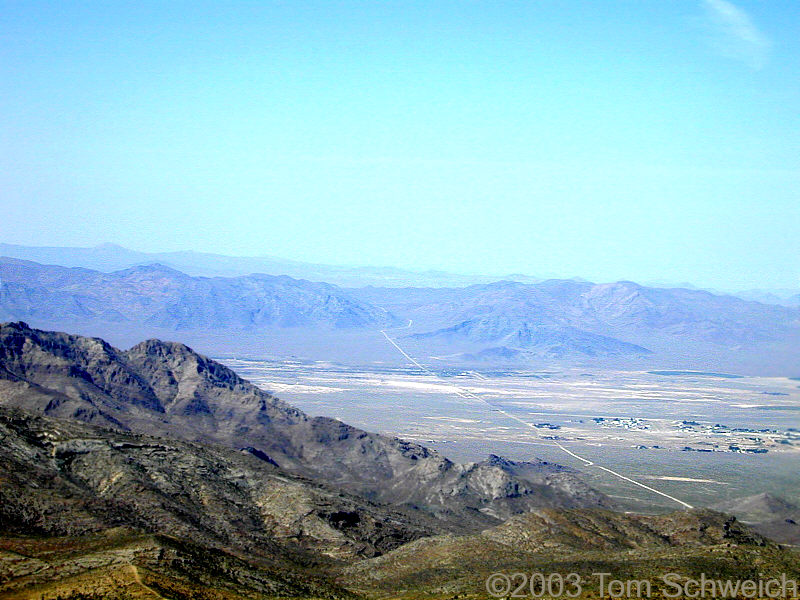 Sandy Valley and the Mesquite Mountains.