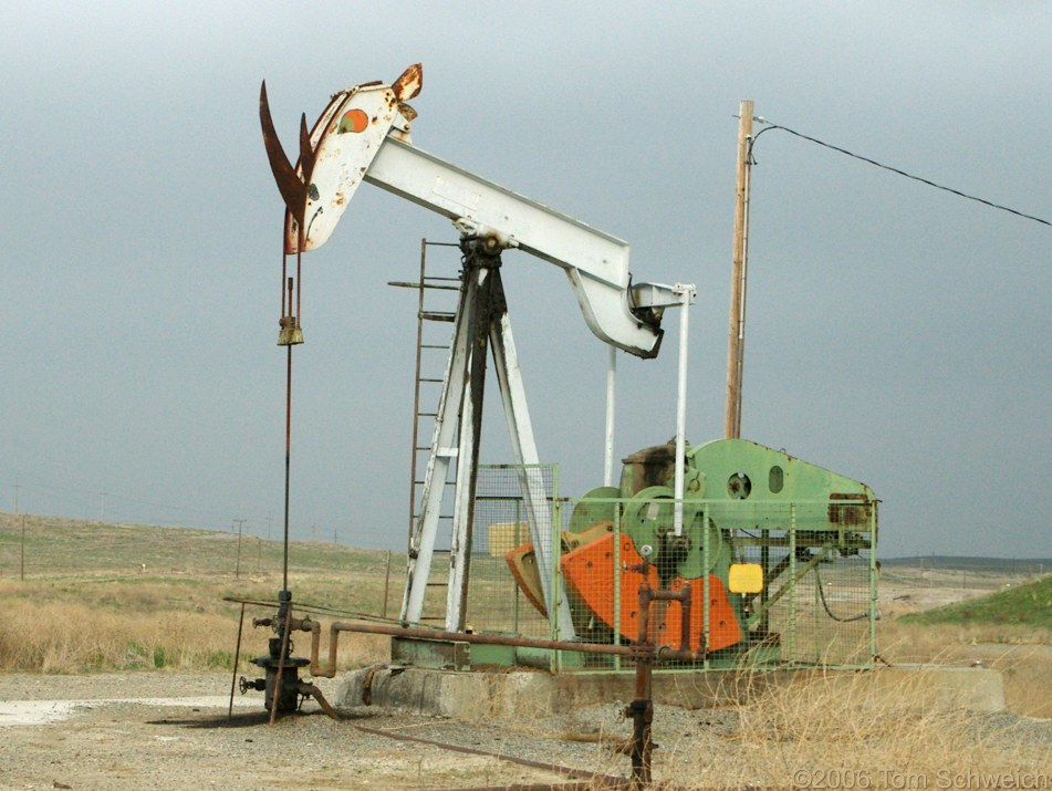 Oil pump, rhinoceros, Iron Zoo, Fresno County, California