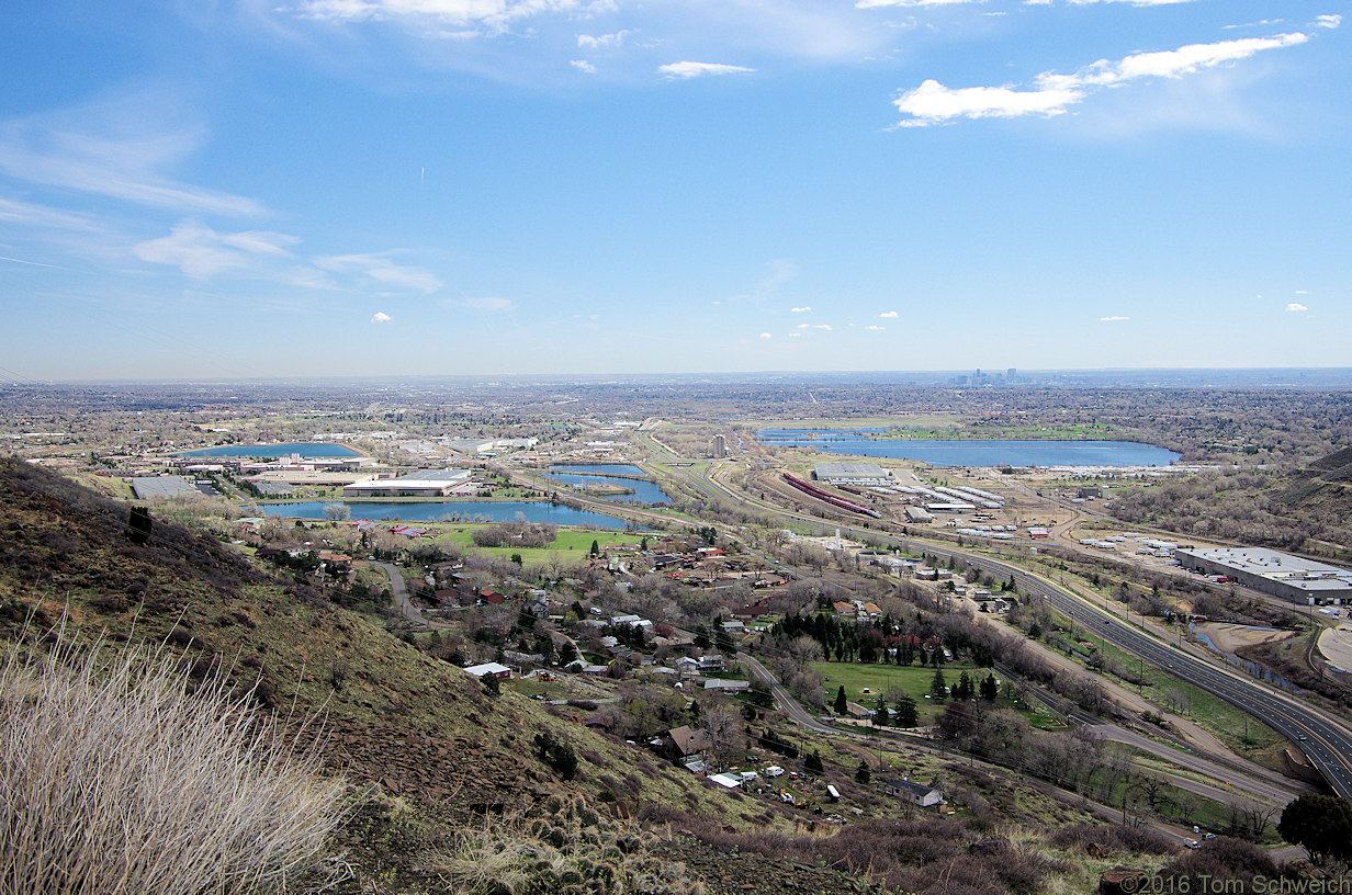 Valley of Clear Creek opens onto the plains; Denver in right distance.