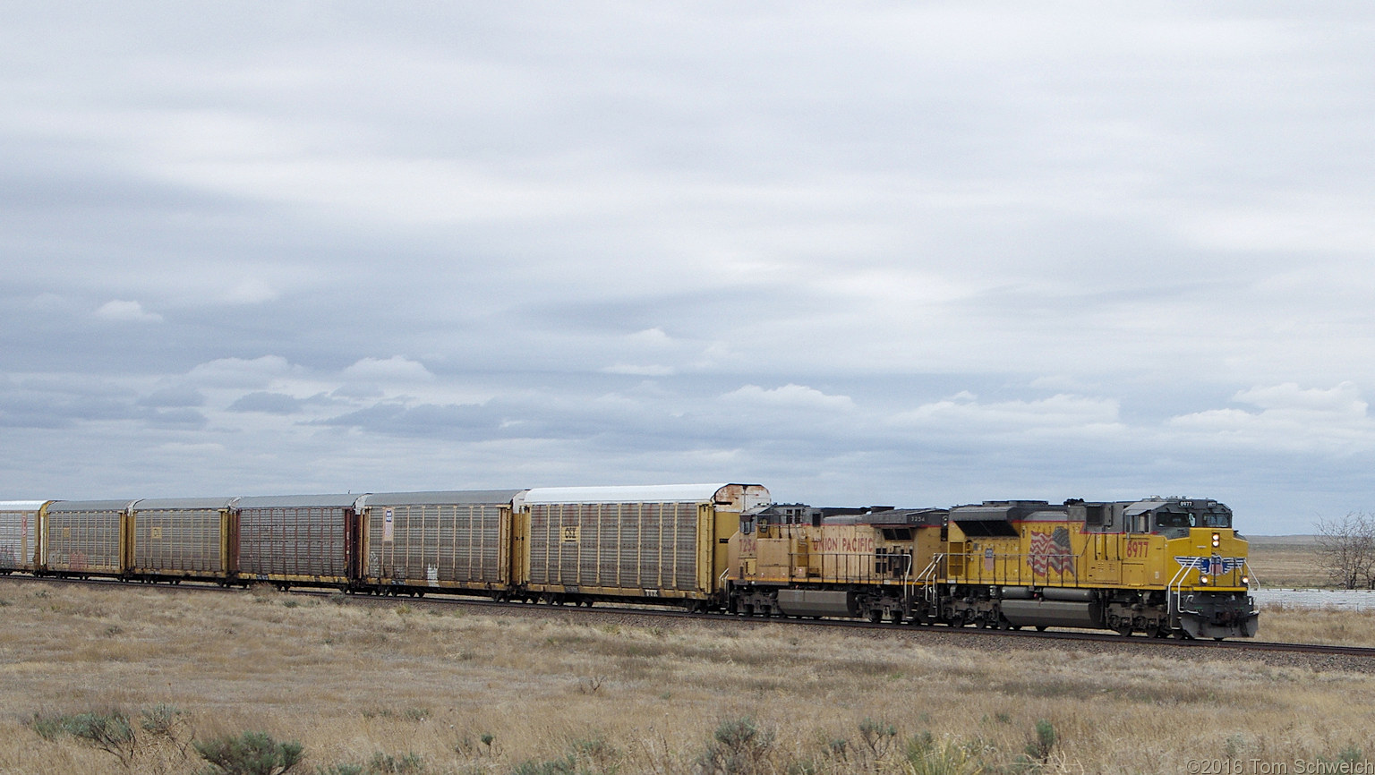 UP 8977 and UP 7254 pulling a string of empty tri-levels eastbound between Kit Carson and Cheyenne Wells, Colorado.