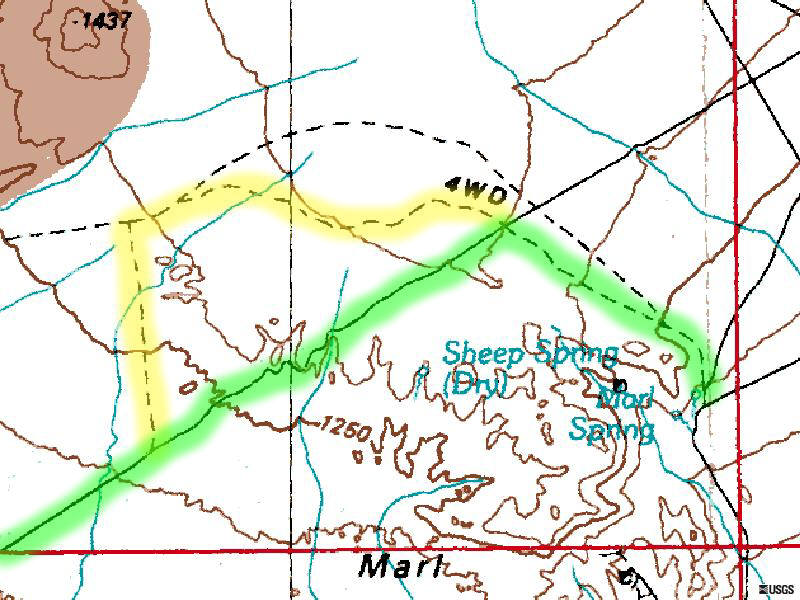 USGS map showing Marl Spring Location.