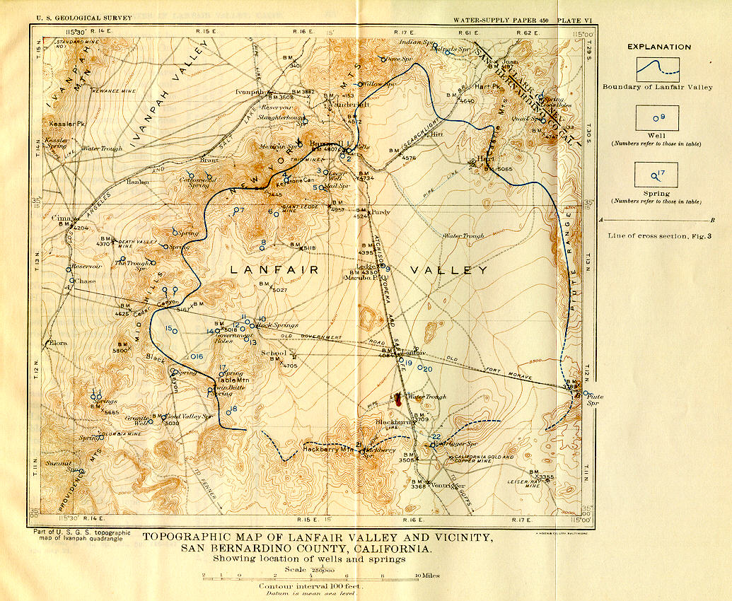 David Thompson's (1920) map of Lanfair Valley.